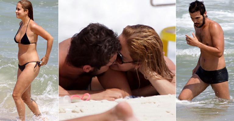 Romance de Paloma Duarte e Bruno Ferrari na praia