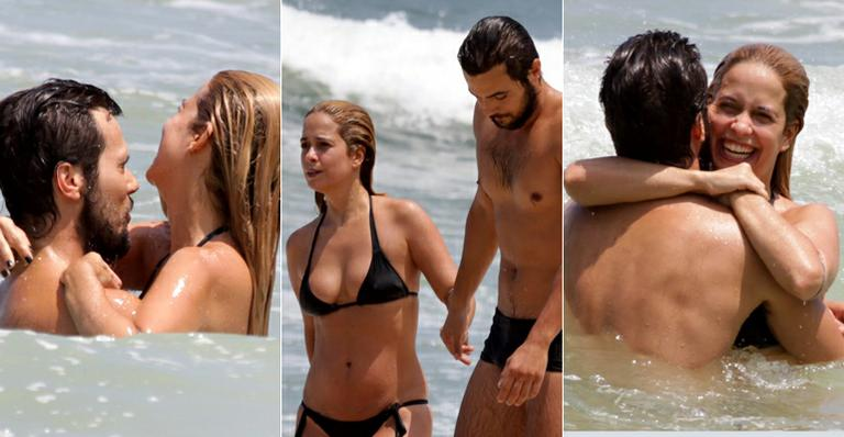 Paloma Duarte e Bruno Ferrari curtem dia de sol na praia