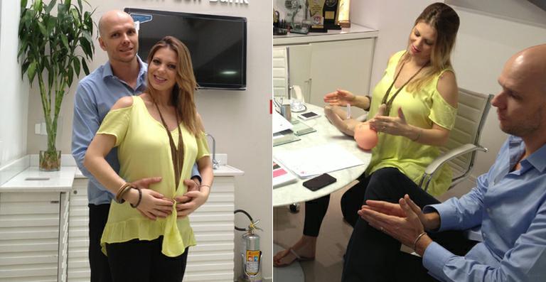 Grávidos, Sheila Mello e Fernando Scherer visitam clínica de armazenamento de células-tronco