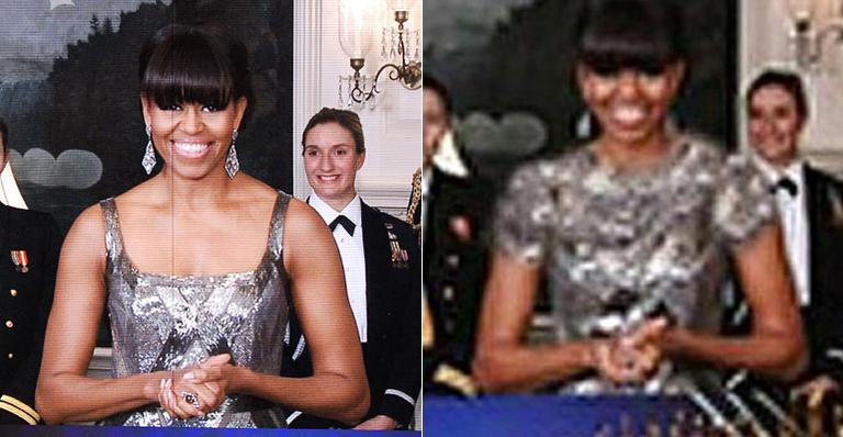 Agência do Irã altera vestido de Michelle Obama no Oscar
