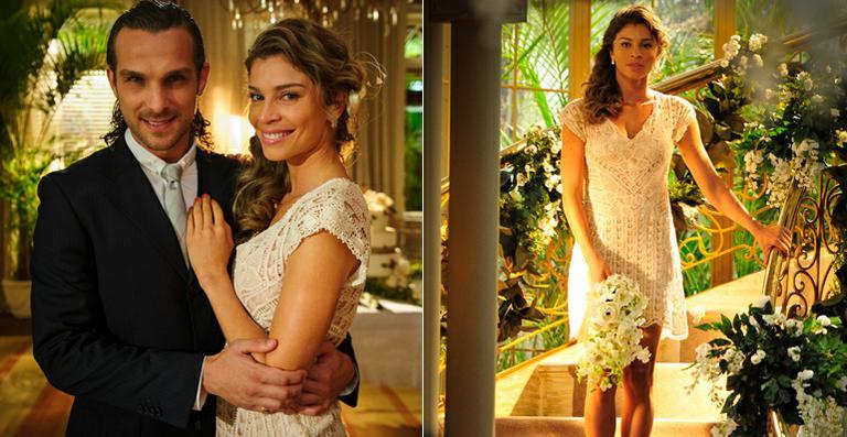 'Flor do Caribe': Ester usa vestido de noiva simples e curto