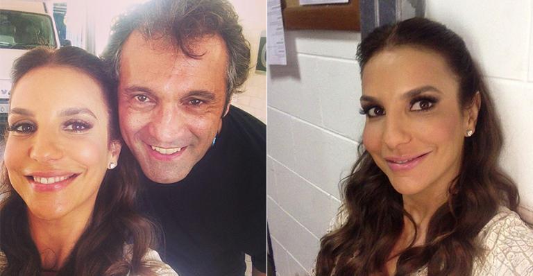Ivete Sangalo tieta Domingos Montagner nos bastidores da Globo