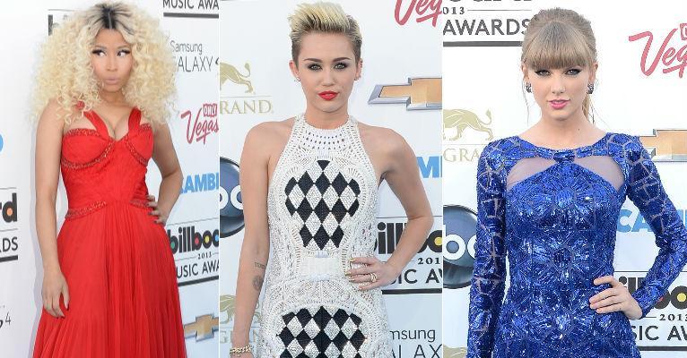 Nicki Mina,, Miley Cyrus e Taylor Swift: tendências no Blue Carpet