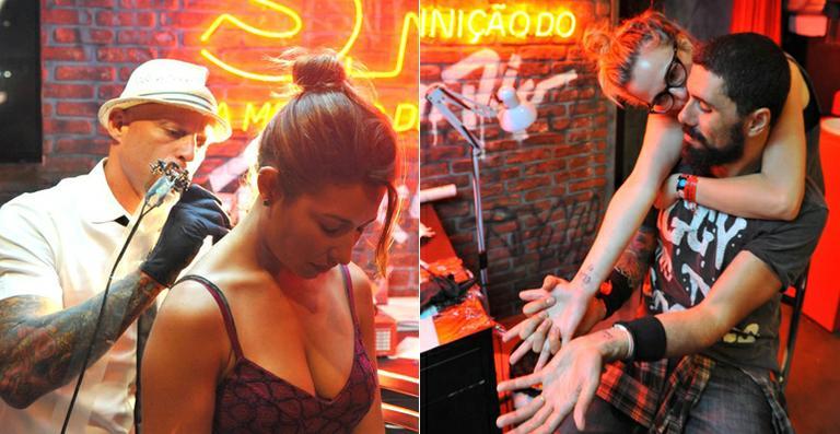 Nathália Rodrigues e Giselle Itié fazem tatuagens no Rock in Rio
