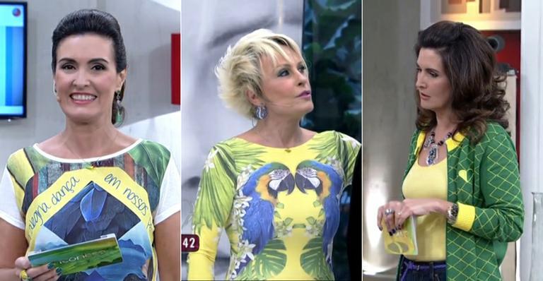 Ana Maria Braga e Fátima Bernardes 'looks brasileiros' durante a Copa