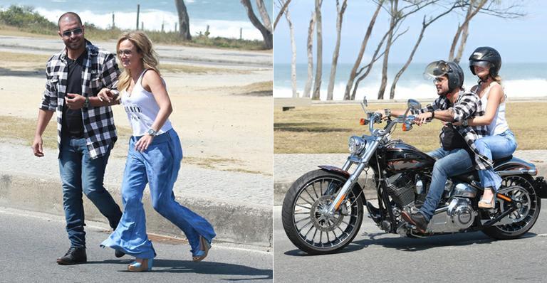 Eliana pega carona na moto de Diogo Nogueira no Rio de Janeiro