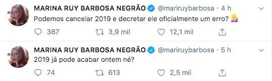 Marina Ruy Barbosa desabafando no Twitter