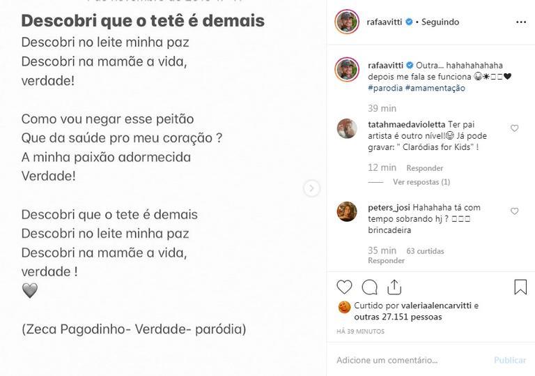 Rafa Vitti posta vídeos cantando paródias que fez para filha