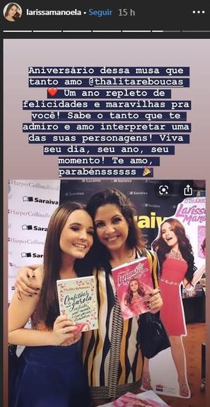Larissa Manoela parabeniza Thalita Rebouças