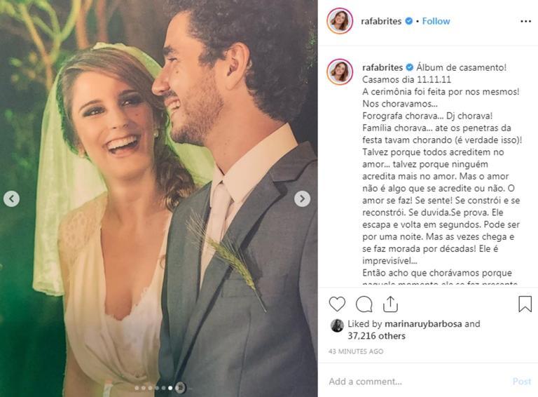 Rafa Brites e Felipe Andreoli comemoram oito anos de casamento