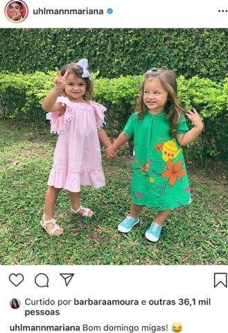 Mariana Uhlmann posta foto de Maria e Madalena juntas
