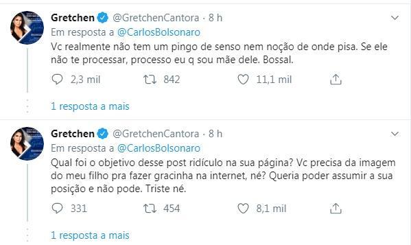 Carlos Bolsonaro usa foto de Thammy com o filho na web e Gretchen se revolta