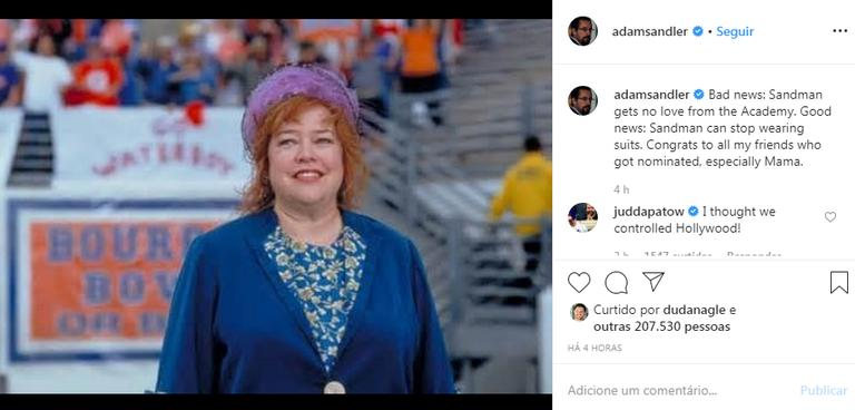 Adam Sandler fala sobre o Oscar 2020