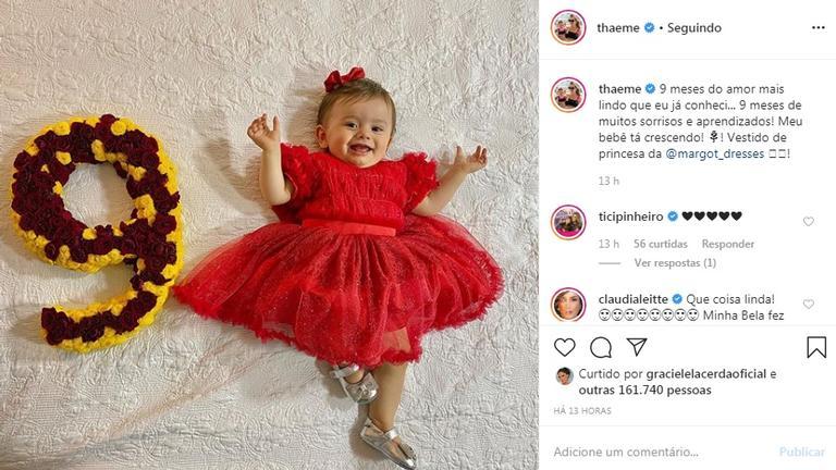 Liz, filha de Thaeme Mariôto, completa nove meses e encanta