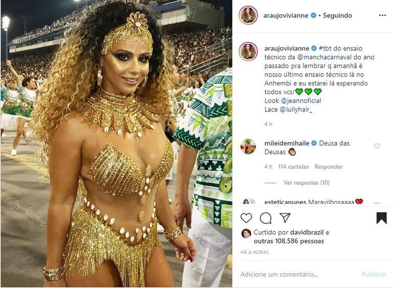 Viviane Araújo em ensaio da Mancha Verde