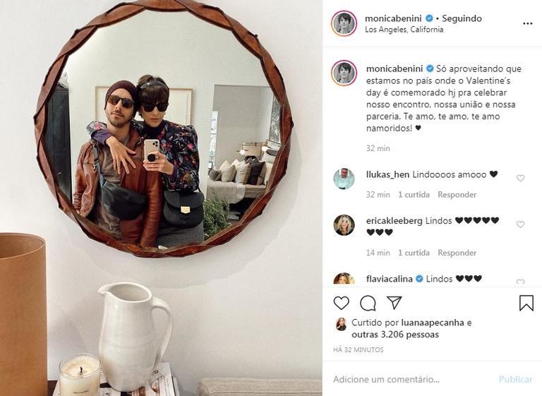 Monica Benini se declara na web para o marido, Júnior Lima