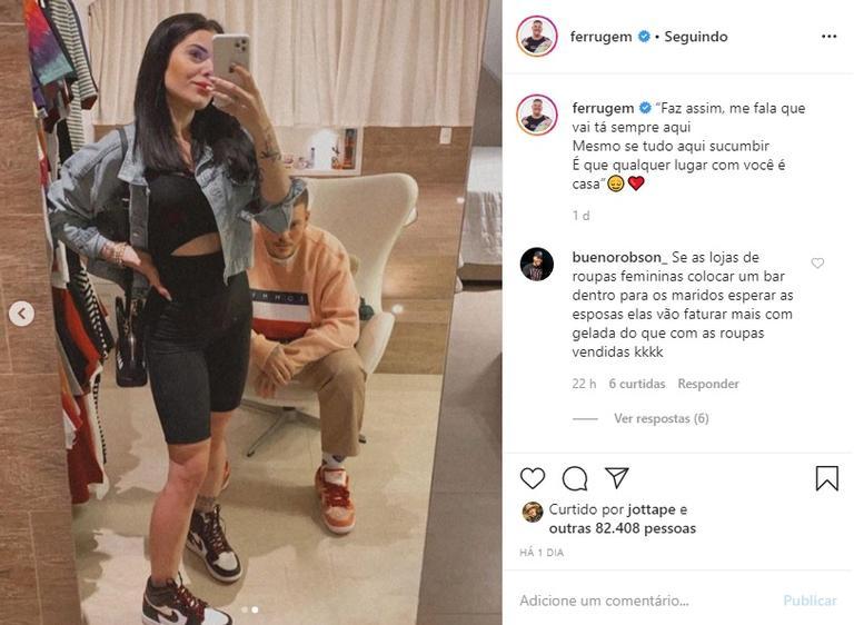 Ferrugem se declara para Thaís Vasconcellos na web e encanta