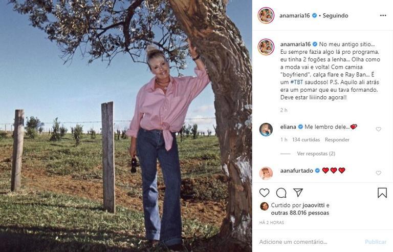 Ana Maria Braga posta clique nostálgico e emociona as redes