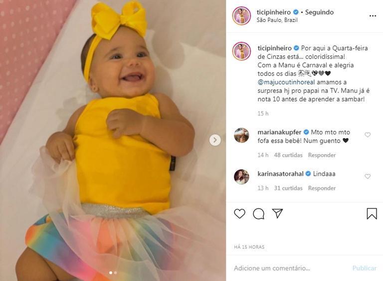 Filha de Ticiane Pinheiro e Cesar Tralli, Manuella