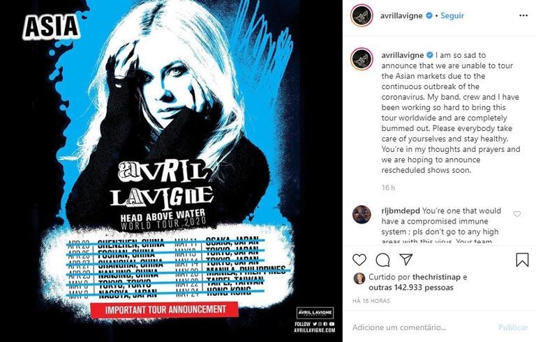Avril Lavigne cancela turnê na Ásia