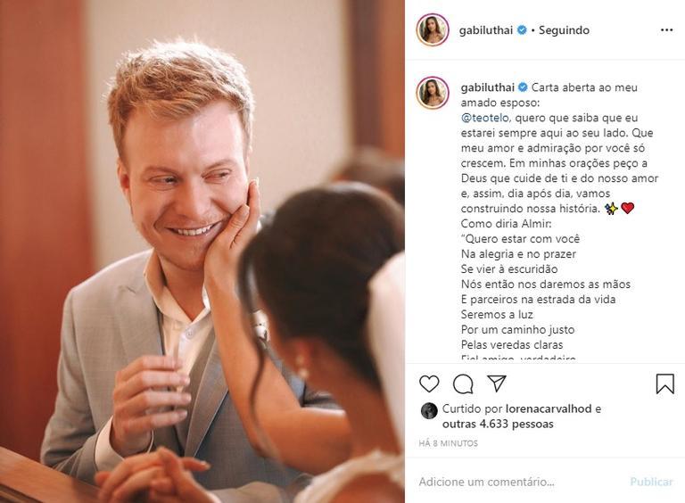 Recém-casada, Gabi Luthai se declara para Téo Teló na web