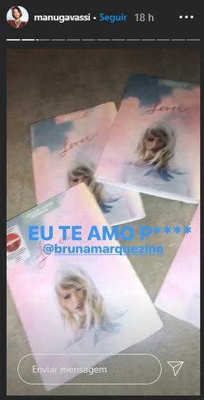 Manu Gavassi thanks to Bruna Marquezine by reading the books on the Taylor Swift