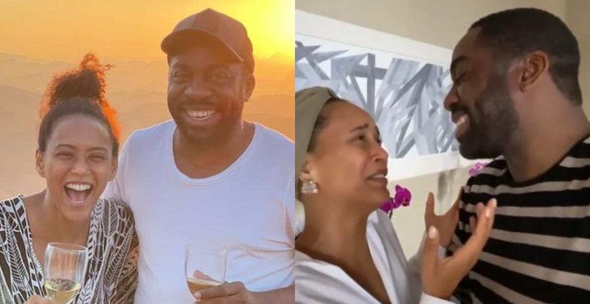 Taís Araujo e Lázaro Ramos mostram bastidores de beijo cinematográfico e divertem: ''Nada técnico''